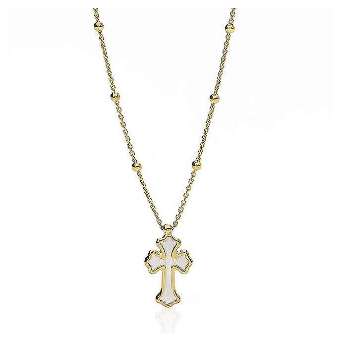 Collar AMEN Corazón y Curz plata 925 nácar blanco acabado dorado 4