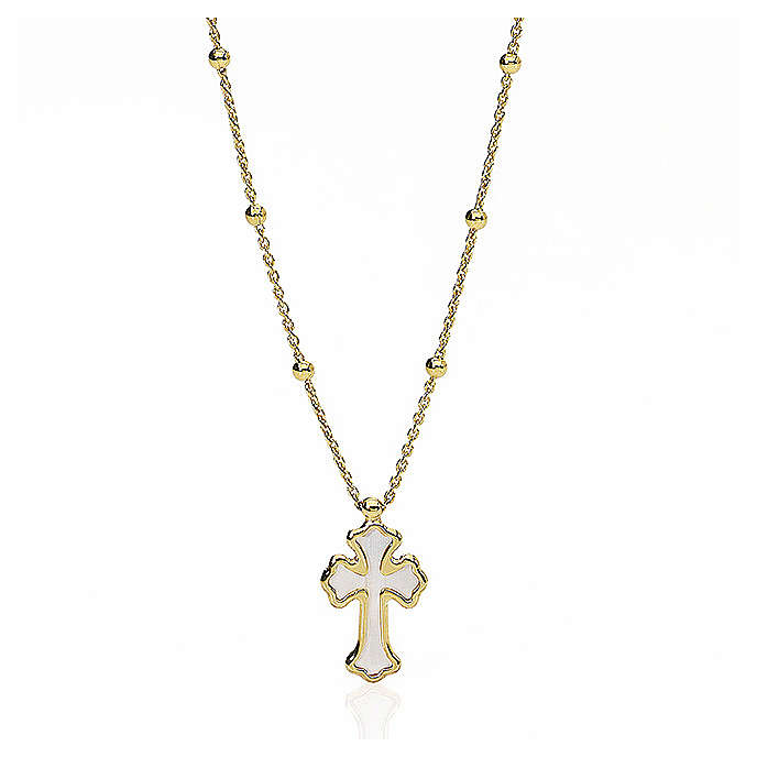 Collana AMEN Cuore e Croce argento 925 madrep. bianca fin. Oro 4