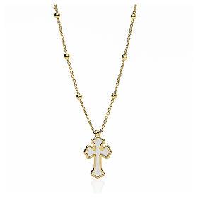 Collana AMEN Cuore e Croce argento 925 madrep. bianca fin. Oro s1