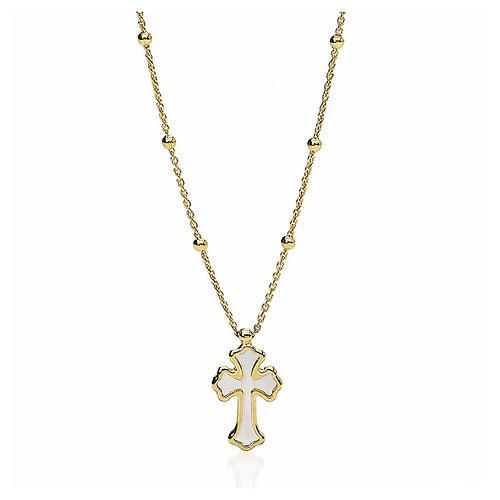 Collana AMEN Cuore e Croce argento 925 madrep. bianca fin. Oro 1