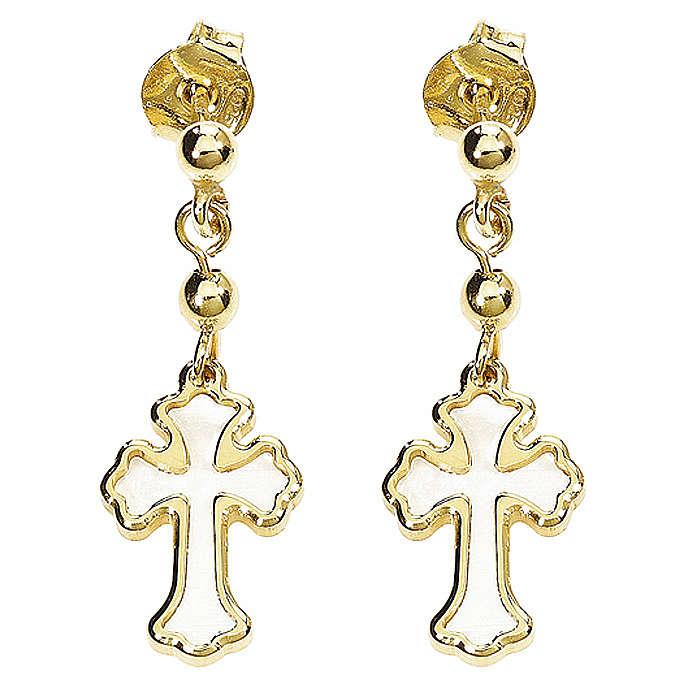 Earrings AMEN Cross silver 925 white mother-of-pearl, Gold finish 4