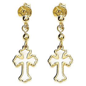 Boucles AMEN croix trilobée argent 925 nacre blanche fin. dorée s1