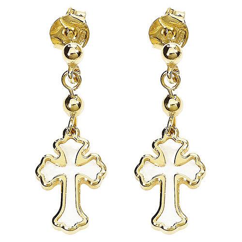 Boucles AMEN croix trilobée argent 925 nacre blanche fin. dorée 1