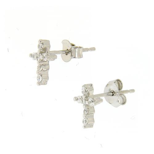 Parure argento 925: orecchini, catena pendente e croce zirconi 2