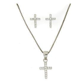 925 sterling silver parure: earrings, pendant chain and white zirconate cross s1