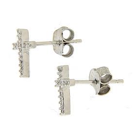 925 sterling silver parure: earrings, pendant chain and white zirconate cross s2