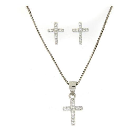 925 sterling silver parure: earrings, pendant chain and white zirconate cross 1