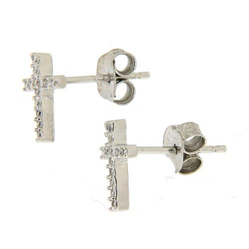 925 sterling silver parure: earrings, pendant chain and white zirconate cross 2
