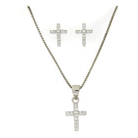Aderezo plata 925: pendientes, cadena colgante y cruz zircón blanco s1