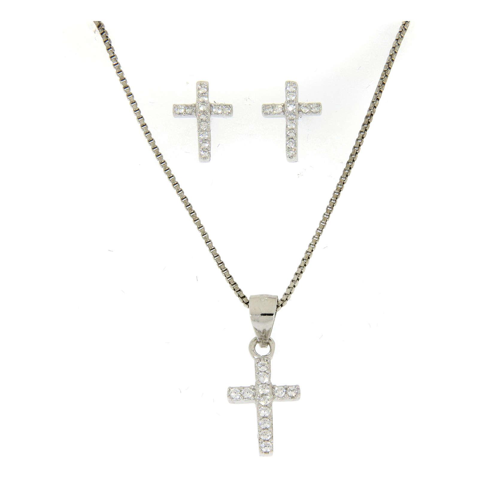 Parure argento 925: orecchini, catena pendente e croce zircone bianco 4