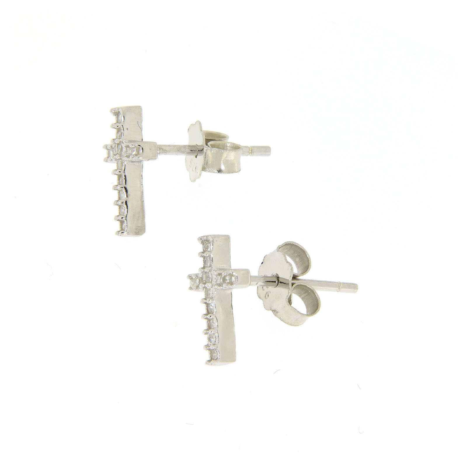 925 sterling silver parure: earrings, pendant chain with cross and zircon 4