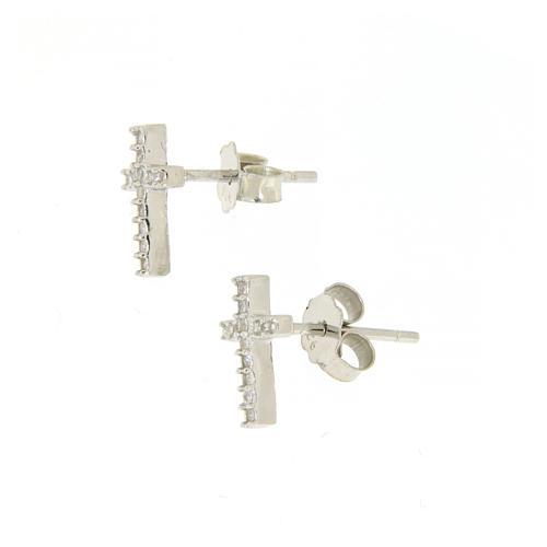 Parure argento 925: orecchini, catena pendente croce e zircone 2
