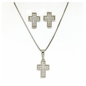 925 sterling silver parure: earrings, pendant chain and cross s1