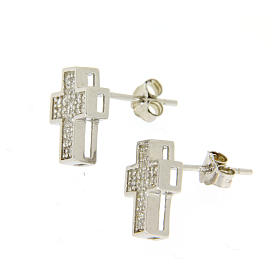 925 sterling silver parure: earrings, pendant chain and cross s2