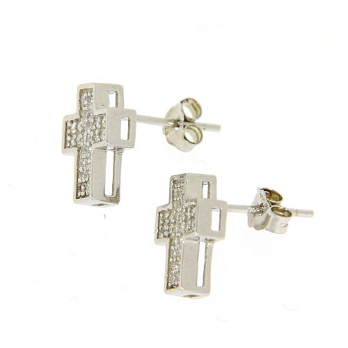 925 sterling silver parure: earrings, pendant chain and cross 2