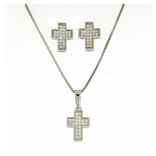 Aderezo plata 925: pendientes, cadena colgante y cruz 1