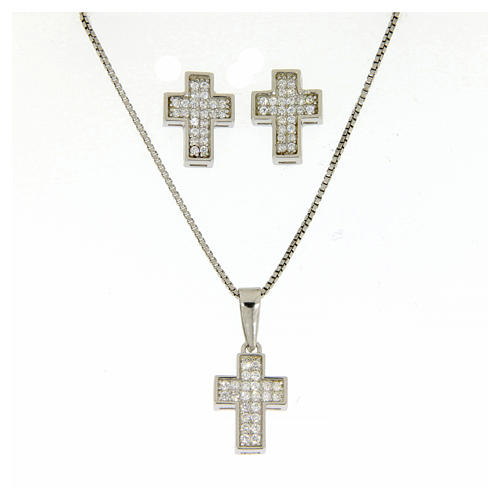 Parure argento 925: orecchini, catena pendente e croce 1