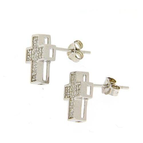 Parure argento 925: orecchini, catena pendente e croce 2