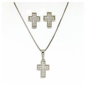 Pingentes, Cruzes, Broches, Correntes: Conjunto de brincos corrente pingente cruz com zircões em prata 925