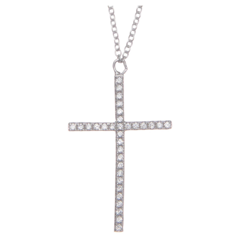 Pendente croce e catenina argento 925 rodiato 4