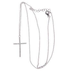 Pendente croce e catenina argento 925 rodiato s3