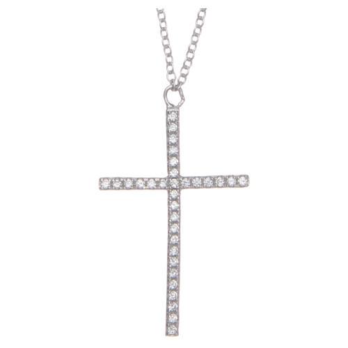 Pendente croce e catenina argento 925 rodiato 1