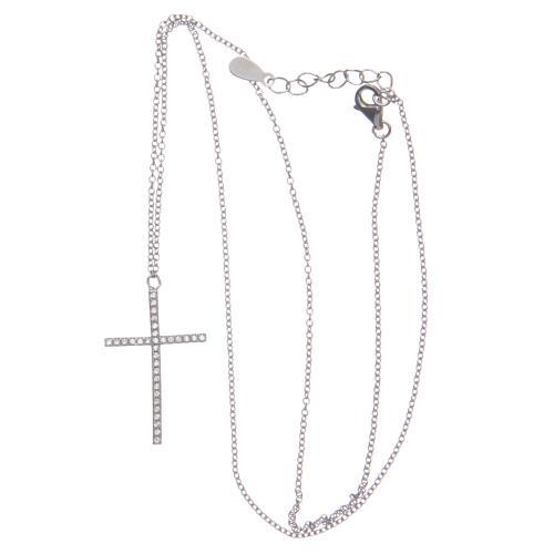 Pendente croce e catenina argento 925 rodiato 3