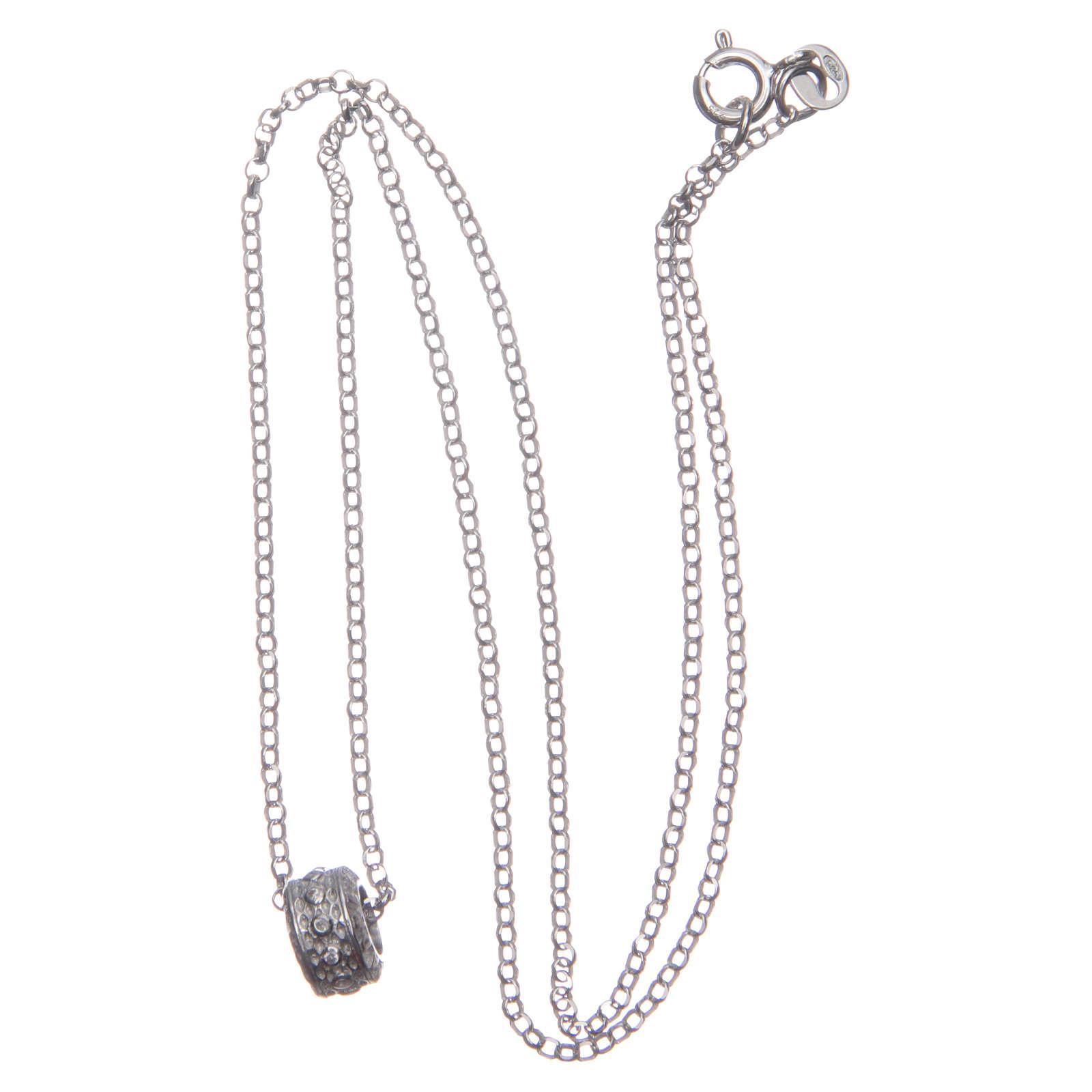 Ciondolo rosario bianco argento 925 4