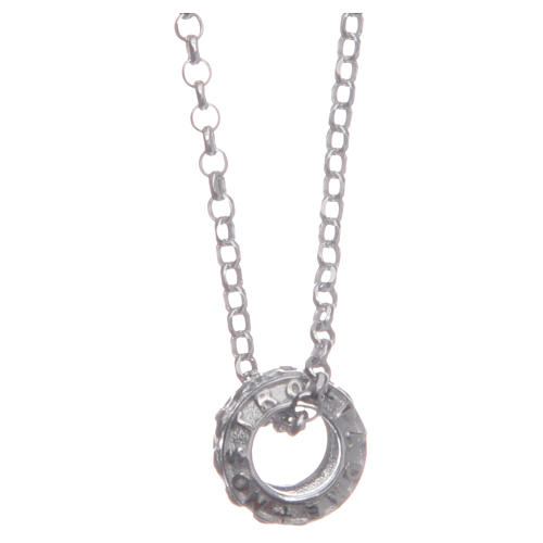 Ciondolo rosario bianco argento 925 1