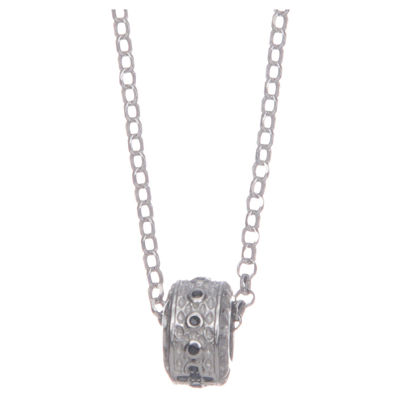 Ciondolo rosario nero argento 925 4