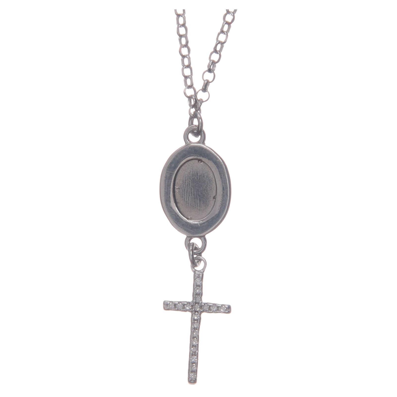Collier pendente medaglia con croce e Padre Pio bianco argento 925 4