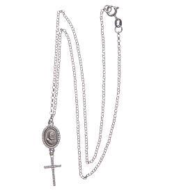Collier pendente medaglia con croce e Padre Pio bianco argento 925 s3