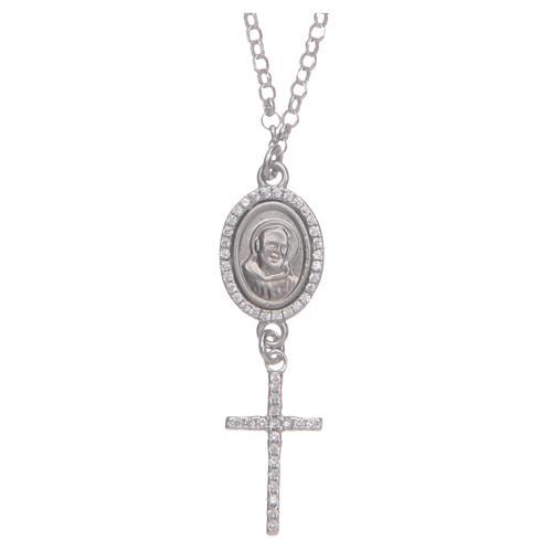 Collier pendente medaglia con croce e Padre Pio bianco argento 925 1