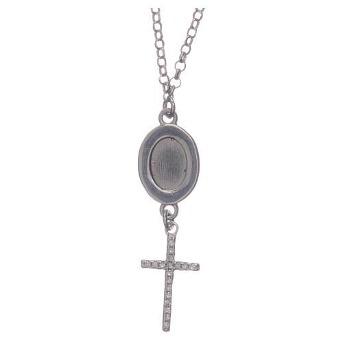 Collier pendente medaglia con croce e Padre Pio bianco argento 925 2