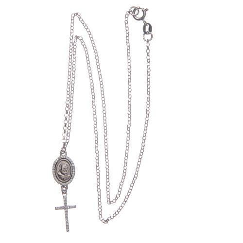 Collier pendente medaglia con croce e Padre Pio bianco argento 925 3