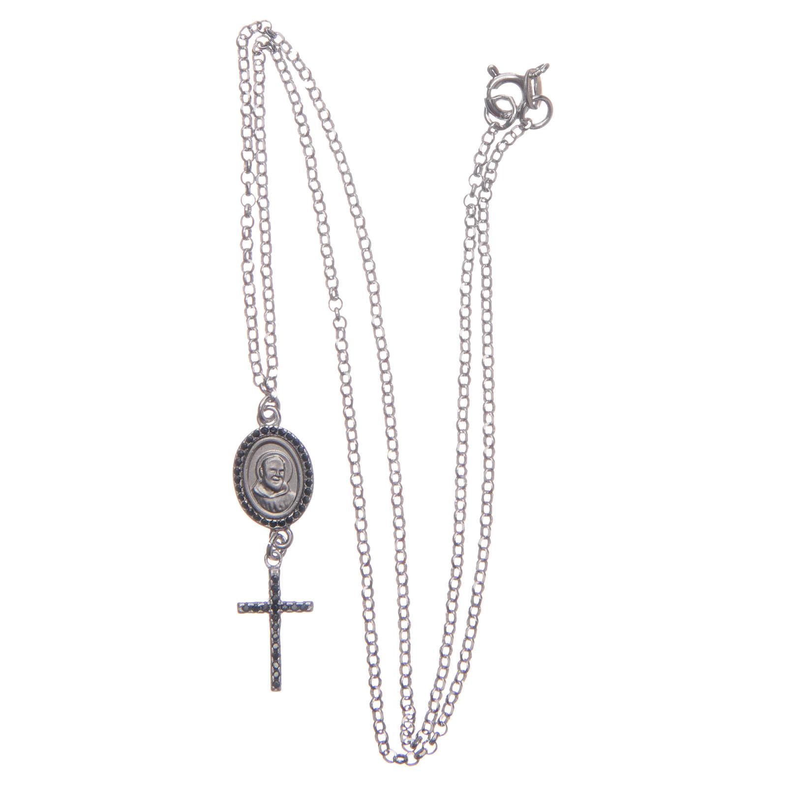 Collier pendente medaglia con croce e Padre Pio nero argento 925 4