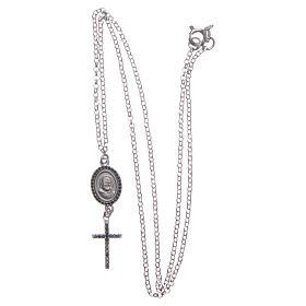 Collier pendente medaglia con croce e Padre Pio nero argento 925 s3