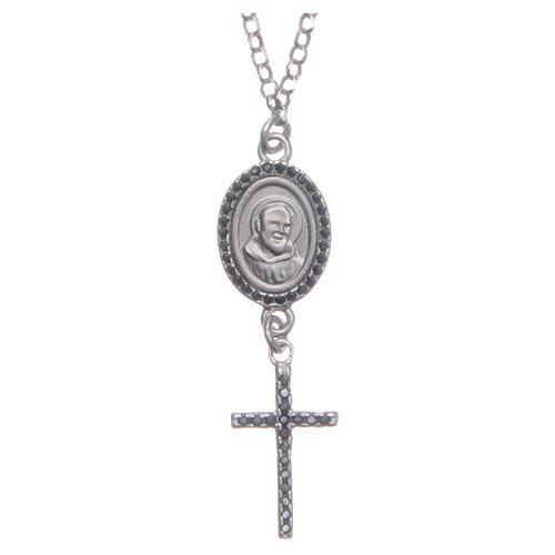 Collier pendente medaglia con croce e Padre Pio nero argento 925 1