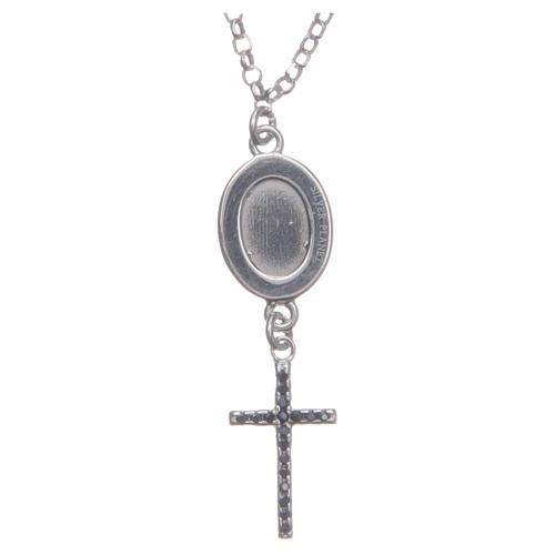 Collier pendente medaglia con croce e Padre Pio nero argento 925 2