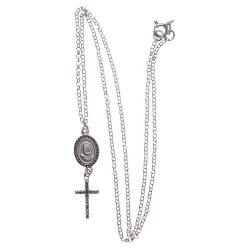 Collier pendente medaglia con croce e Padre Pio nero argento 925 3