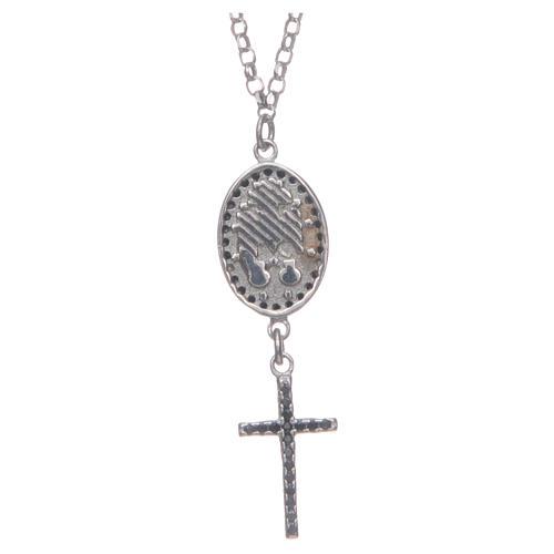 Naszyjnik srebro 925 czarny Święta Rita 2