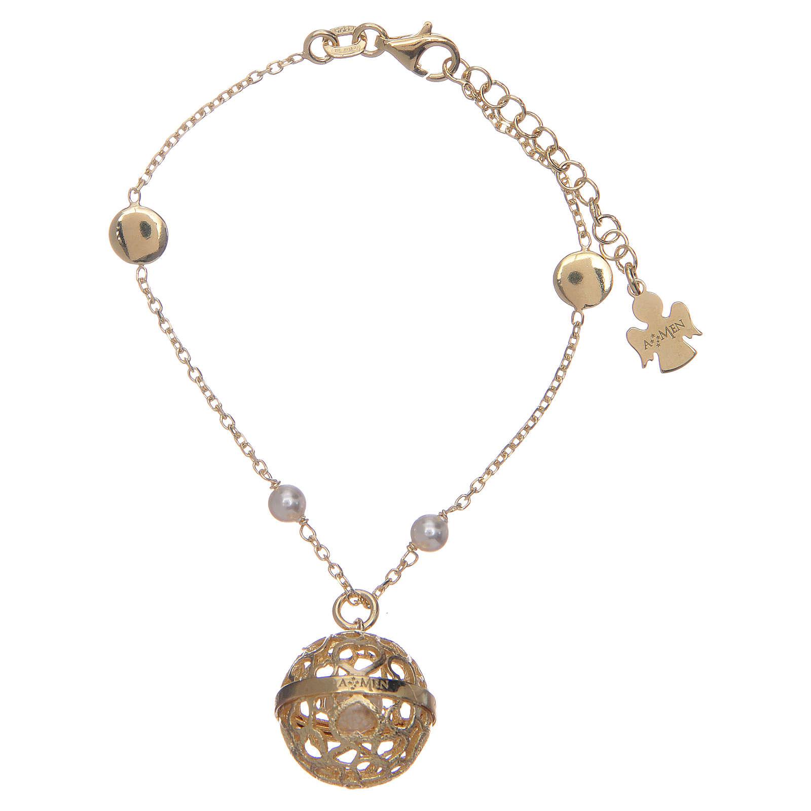 Bracelet Amen bola appeleur d'anges argent 925 doré 4