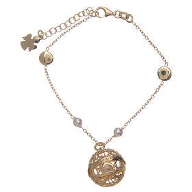 Bracelet Amen bola appeleur d'anges argent 925 doré s1