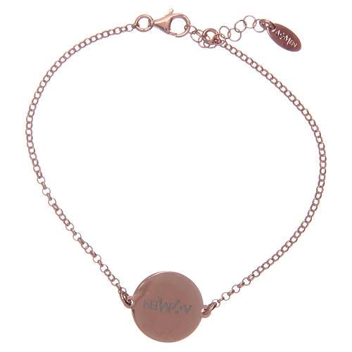Amen-Armband aus rosigem Silber 925 mit Ave Maria Gebet auf Latein 2