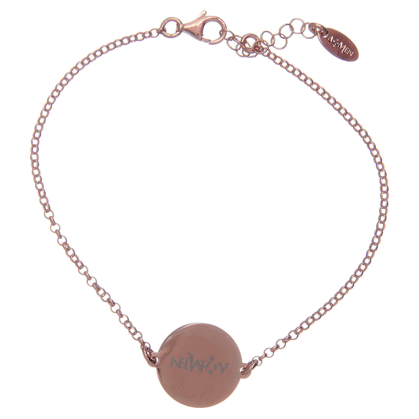 Amen bracelet in 925 sterling silver finished in rosè with Hail Mary prayer in latin 4