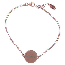 Amen bracelet in 925 sterling silver finished in rosè with Hail Mary prayer in latin s2