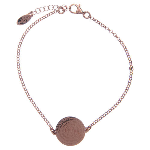 Amen bracelet in 925 sterling silver finished in rosè with Hail Mary prayer in latin 1