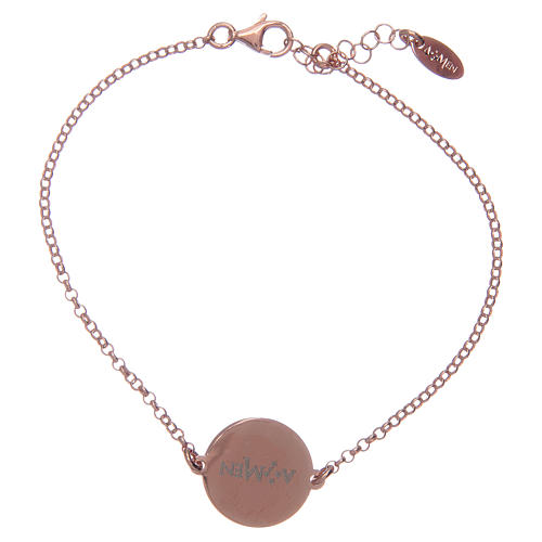 Amen bracelet in 925 sterling silver finished in rosè with Hail Mary prayer in latin 2