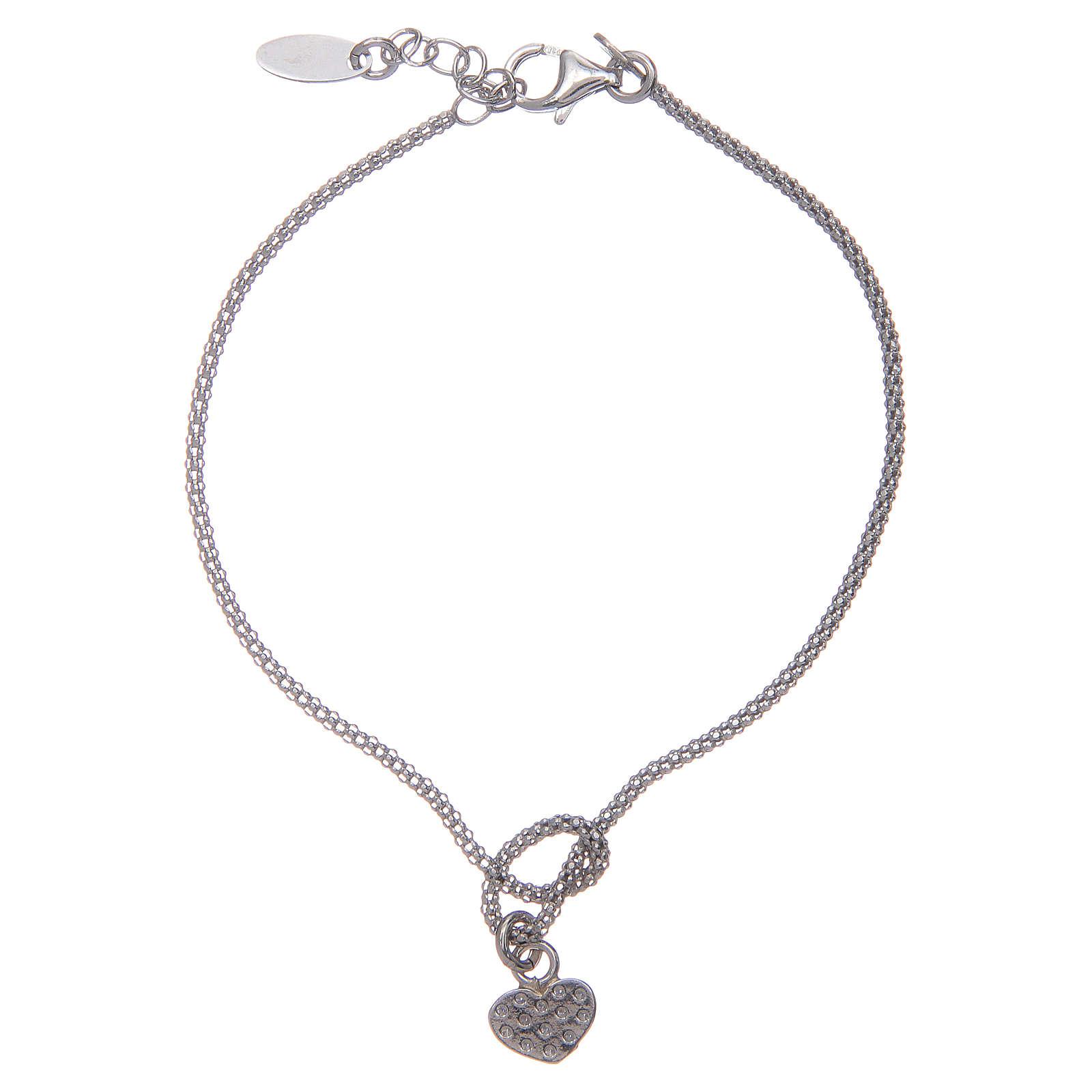 Amen-Armband aus Silber 925 Knoten mit Herzen 4