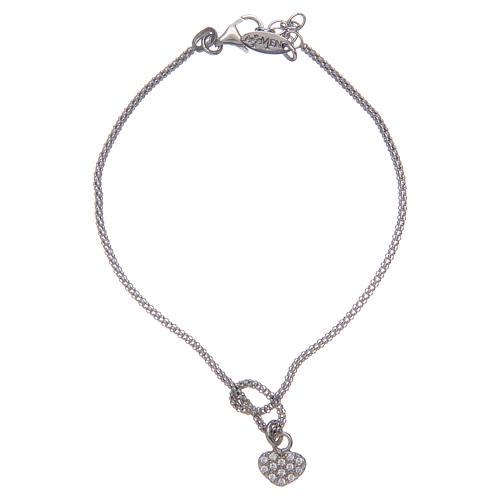 Amen-Armband aus Silber 925 Knoten mit Herzen 1